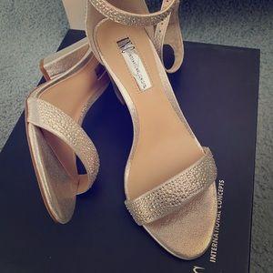 INC gold block heels